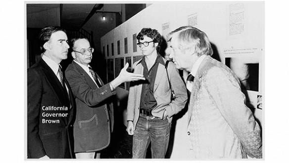 Fred Lonidier (second from right) with Governor Jerry Brown in 1977. Photo: Los Angeles Citizen