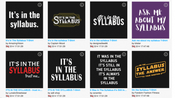 Syllabus-related T-shirt designs