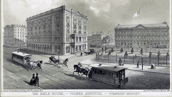 The Bible House, Cooper Institute & Tompkins Market; courtesy New York Public Library