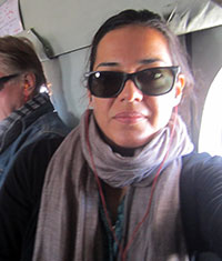 Koukaba Mojadidi self-portrait in helicoptor