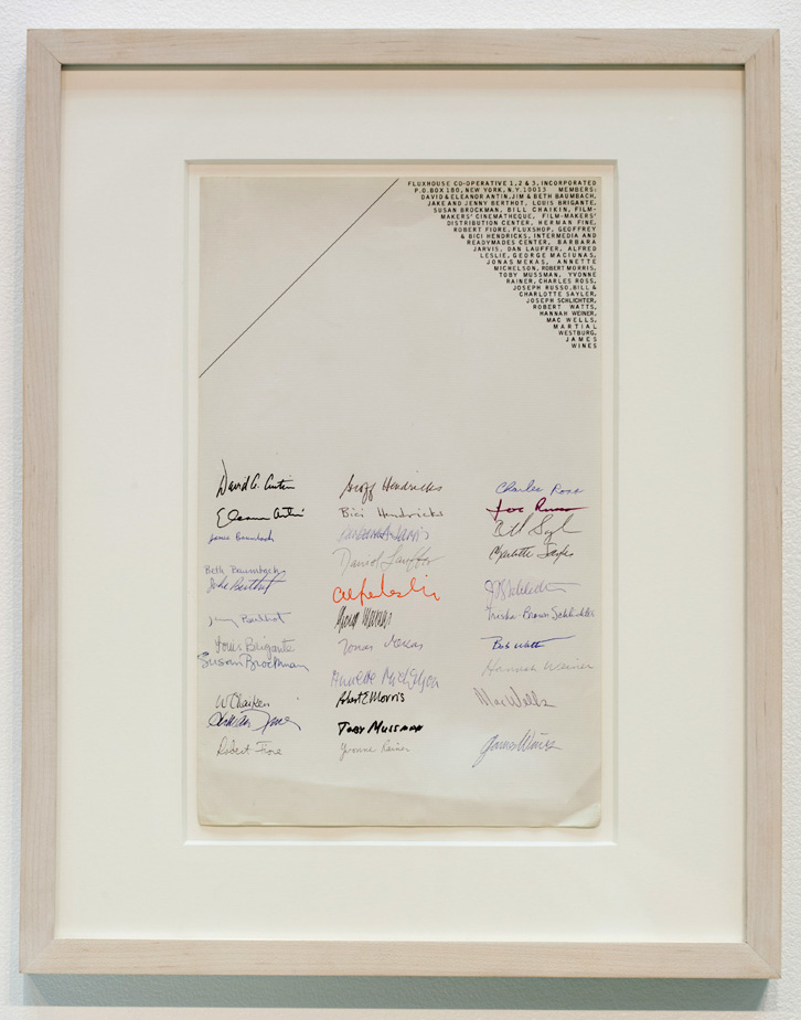 Signature of 32 Fluxhouse Co-op members, on letterhead designed by George Maciunas (ca. 1967)