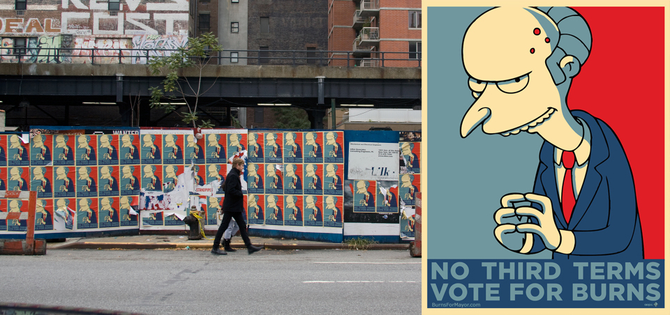 """Burns for Mayor"" posters"