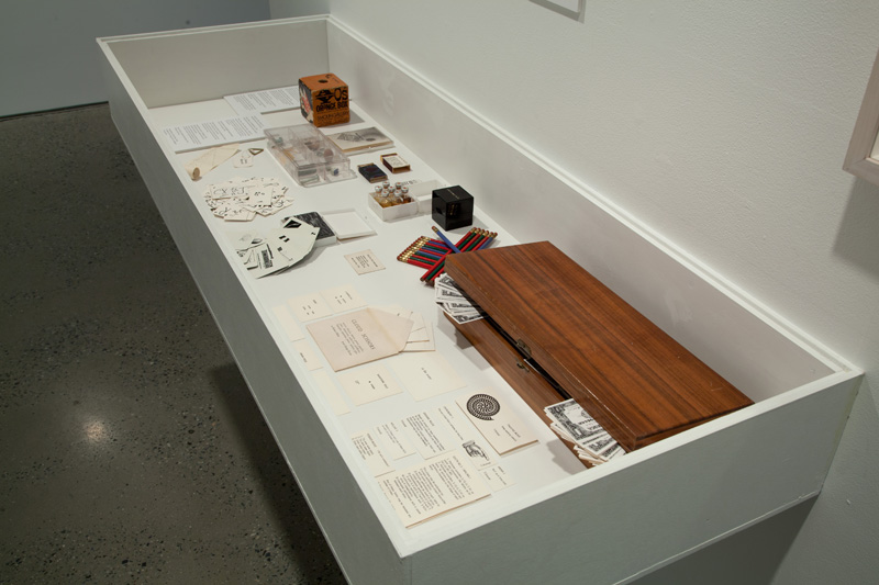 Display box with Fluxus games, objects, documents