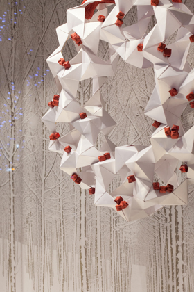 The Christmas wreath designed by the Origami Club