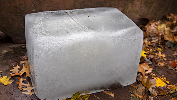 "Ice block from Paolo Mentasti's performance ""we have one enemy and that is ice."""