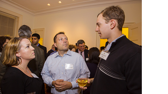 Jennifer Fenton Weishaupt (ChE'95), Erich Weishaupt and Kristof Toth, chemical engineering senior