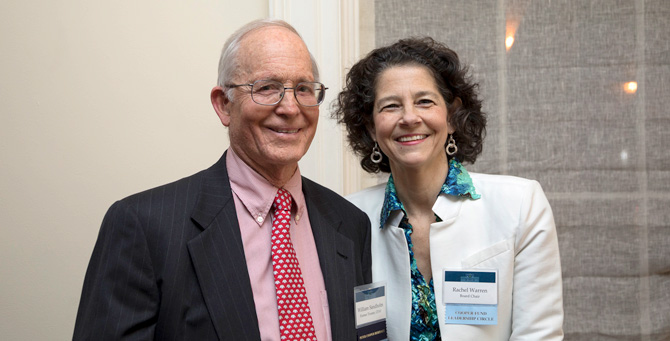 William Sandholm CE'63 wit Rachel Warren, Chair of the Board of Trustees
