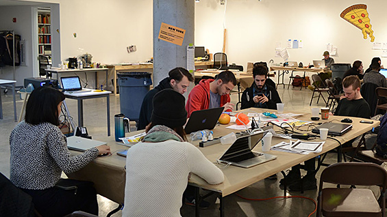 A workshop during the week of NEO New York's residency in 41 Cooper Gallery