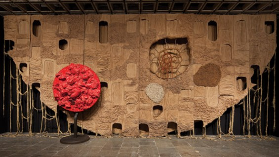 Piotr Uklanski (A'95) Untitled (The Year We Made Contact) 2010 jute, hemp, macrame, pigment, glue; and Untitled (Red Dwarf) 2010
