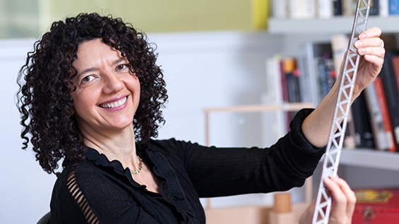 Prof. Tamar Zinguer with Erector Set piece. Photos by Marget Long/The Cooper Union
